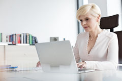 Mature businesswoman using laptop at desk in office Stock Photo