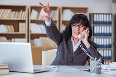 The mature businesswoman working in the office Stock Images