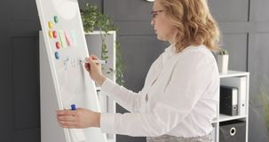 Mature businesswoman writing on whiteboard stock video footage
