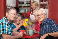 Mature Cafe Patrons Stock Images
