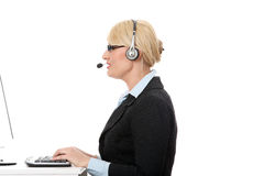 Mature call center. Royalty Free Stock Image