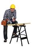 A mature carpenter Royalty Free Stock Image
