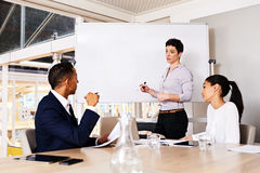 Mature caucasian businesswoman giving a presentation to fellow board members Royalty Free Stock Photo