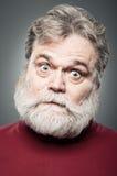 Mature Caucasian Man Crazy Face Portrait Stock Photo