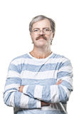 Mature caucasian man in glasses isolated on white Stock Photo