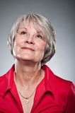 Mature Caucasian Woman Daydreaming Portrait Stock Photography
