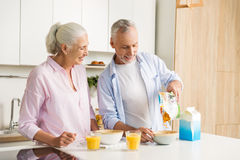 Mature cheerful loving couple family drinking juice eating corn flakes. Picture of mature cheerful loving couple family standing at the kitchen drinking juice Stock Images