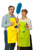 Mature cleaning people Royalty Free Stock Image