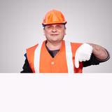 Mature contractor and advertising Royalty Free Stock Image