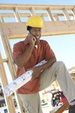 Mature Contractor On Call Stock Images