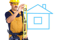 Mature Contractor and house Stock Photography