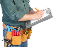 Mature contractor and instruments Stock Photography