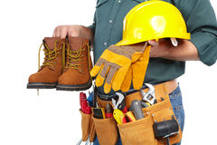 Mature contractor and instruments Royalty Free Stock Photos