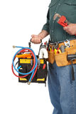 Mature contractor and instruments Stock Image