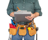 Mature contractor and instruments Stock Photos