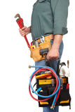 Mature contractor and instruments Stock Photo