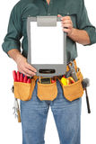 Mature contractor and instruments Stock Images