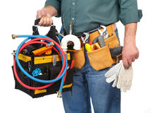 Mature contractor and instruments Royalty Free Stock Images