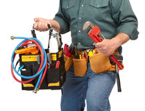 Mature contractor and instruments Royalty Free Stock Image