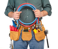 Mature contractor and instruments Royalty Free Stock Photography