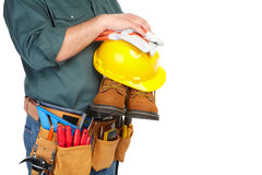 Mature contractor and instruments Royalty Free Stock Photo