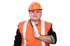 Mature contractor shows gesture Stock Image