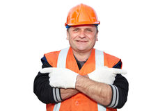 Mature contractor shows gesture Royalty Free Stock Photography