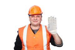 Mature contractor shows gesture Stock Photography