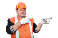 Mature contractor shows gesture Royalty Free Stock Images
