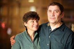 Mature couple. Happy mature couple, shallow DOF, focus on woman royalty free stock photo