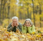 Mature couple in the autumn park Stock Photos