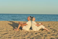 Mature couple on beach Royalty Free Stock Images