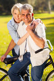 Mature couple bicycle Royalty Free Stock Photos