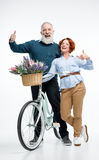 Mature couple with bicycle Stock Image
