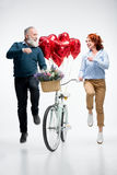 Mature couple with bicycle Royalty Free Stock Image