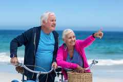 Mature couple with bicycles Stock Image