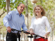 Mature couple with bicycles Stock Photo