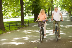 Mature couple on bikes outdoors Royalty Free Stock Images