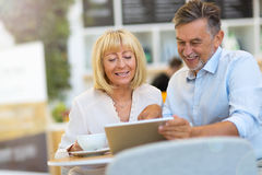 Mature couple at cafe Stock Image
