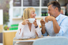 Mature couple at cafe Royalty Free Stock Photo