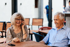 Mature Couple In Cafe Stock Image