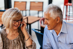 Mature Couple In Cafe Stock Photos