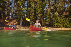 Mature couple canoeing on a lake during a camping trip Stock Photography