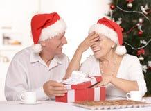 Mature couple celebrating new year Royalty Free Stock Photos