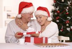 Mature couple celebrating new year Stock Photo