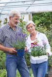 Mature Couple Choosing Plants At Garden Center Stock Photography