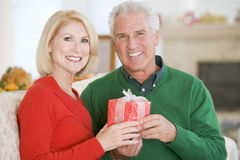 Mature Couple At Christmas Stock Photography