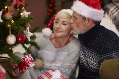 Mature couple during Christmas royalty free stock photo