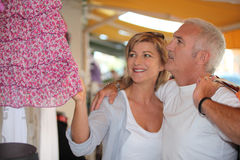 Mature couple in clothing store Stock Photo