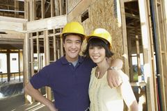 Mature Couple At Construction Site Stock Photos